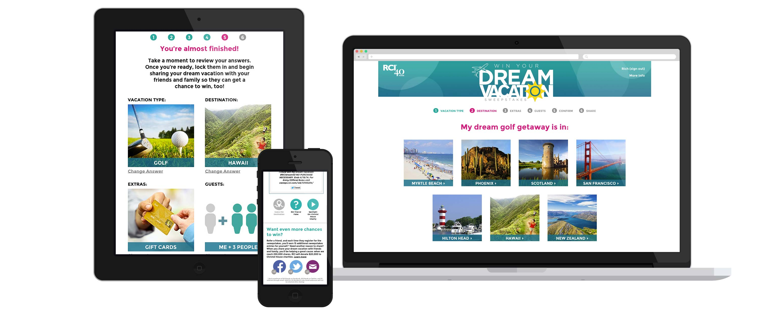 Dream Vacation web app displayed on three devices